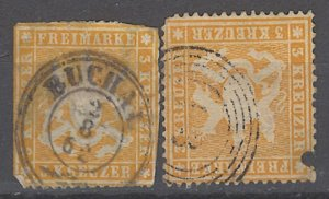 COLLECTION LOT # 2034 WURTTEMBERG  #20 X 2 1860 FAULTY