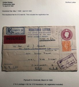 1950 Plymouth England Registered Insured  Cover To Cincinnati OH USA