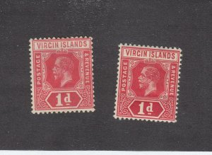 VIRGIN ISLANDS # 39-39a MINT UNUSED KGV 1d ISSUES CAT VALUE $60+