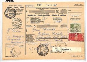 AX45 1958 Switzerland Lugano Parcel Receipt Italy Postage Dues Como