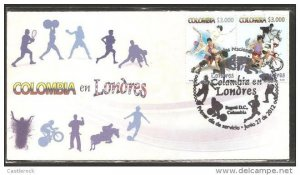 O) 2012 COLOMBIA,LONDON OLYMPIC GAMES, FDC XF.-