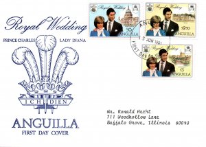 Anguilla 444-446 Royal Wedding Typed FDC