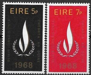 1968 Ireland 266-7 fn1erna110nal Human Rrghts Year C/S of 2 MHOG