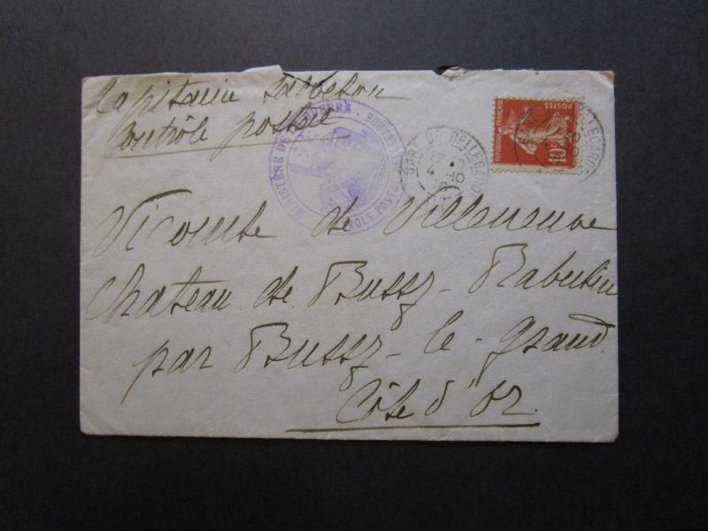 France 1916 Ministry of War Cover / Light Fold - Z7079