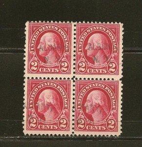 USA 554 Washington Block of 4 Used