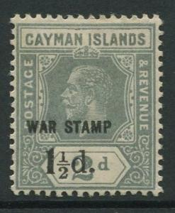 Cayman Islands -Scott MR7 -War Stamp Issue -1920 -MLH -Single 1.1/2d on a 2d