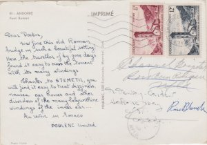 Andorra French Administration 8F and 12F St. Coloma Belfry 1960 Andorre-La-Vi...