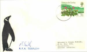 Tristan Da Cunha 1 1/2p QEII Sand Flower 1974 Tristan da Cunha to Germiston, ...