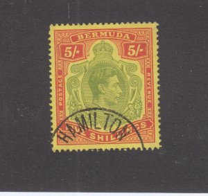 BERMUDA SG 118d VF- KGV1 5sh HAMILTON CORNER CANCEL CAT VAL $74 or £58