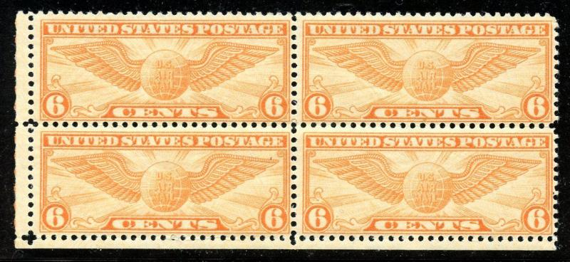 U.S. Scott C19 6 Cent Winged Globe FVF MNH Block of 4