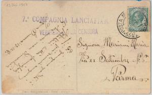 ITALY - POSTAL HISTORY:  POSTMARK on POSTCARD 1917 - Flamethrower DIVISION