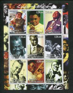 Turkmenistan Commemorative Souvenir Stamp Sheet - Jazz Legend Louis Armstrong