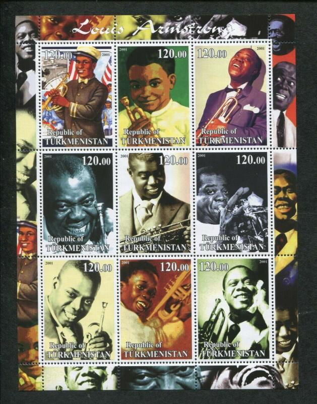 Turkmenistan Commemorative Souvenir Stamp Sheet - Jazz Legend Louis Armstrong