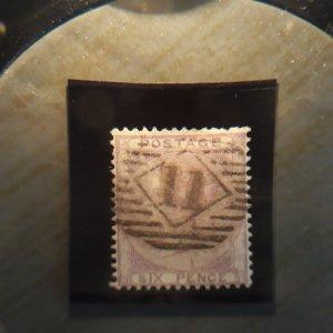 GB 27 1856 6 pence fvf used