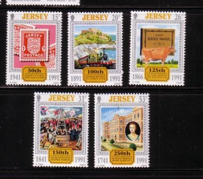 Jersey Sc 563-7 1991 anniversaries stamps mint NH