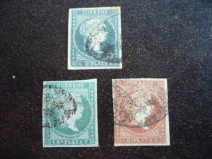 Stamps - Cuba - Scott# 1,2,4 - Used - Partial set of 3