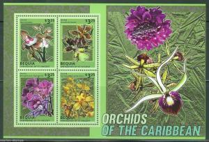 BEQUIA  2014 ORCHIDS OF THE CARIBBEAN SHEET  MINT NH
