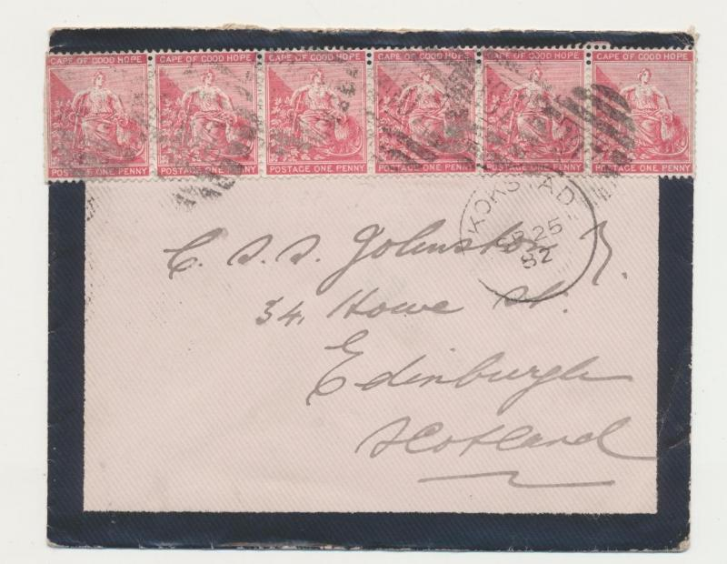CAPE OF GOOD HOPE TO SCOTLAND 1882 MOURNING COVER KOKSTADCDS,CAPE TRANSIT+RCVR