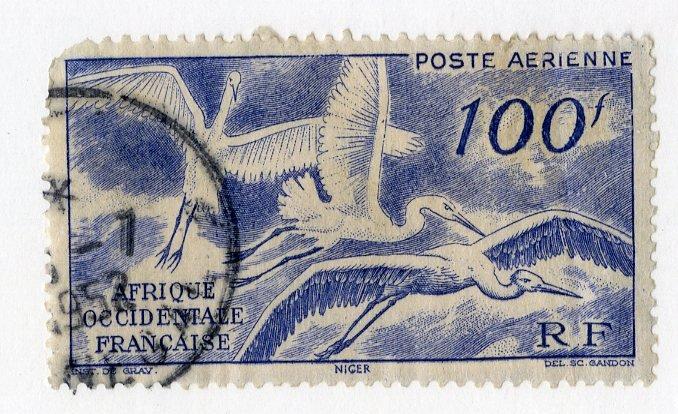 FRENCH WEST AFRICA C13 USED SCV $4.75 BIN $1.60 BIRDS
