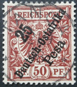 German East Africa 1896 Twenty Five Pesa with TANGA postmark