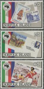 Norfolk Island 1984 SG343-345 Ausipex Stamp Exhibition set MNH