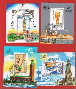 Mongolia #1378-1546-1837-1845  VF used Souvenir Sheets  Free S/H