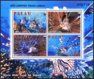 Palau 2009 red lion fish marine life wwf collective s/s MNH