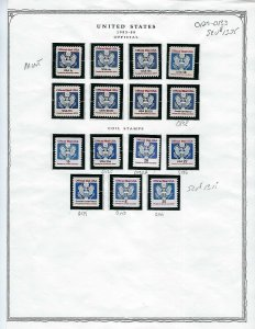 1983-2001 UNUSED OFFICIAL STAMPS - APPROXIMATE CATALOG VALUE $44.00 - B19