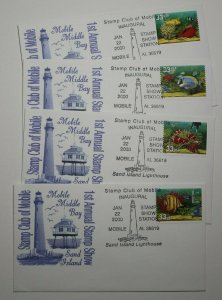 Stamp Club Mobile AL 2000 Sand Island Lighthouse Expo Cachet Cover 3317-3320