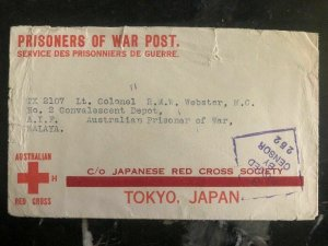 1943 Launceston Tasman Australia To Malaya Japan POW Prisoner of War Camp Cover