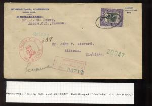 Canal Zone Scott #30 Registered Cover to Addison, MI 1909 Use (Stock #CZ30 Reg2)