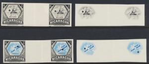 NICARAGUA 1954, 15 & 50c AIRS WATERLOW IMPERF PROOFS VF NH OG Sc#C347/51