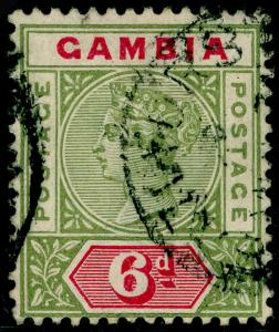 GAMBIA SG43, 6d Olive Green & Carmine, FINE USED. Cat £48.