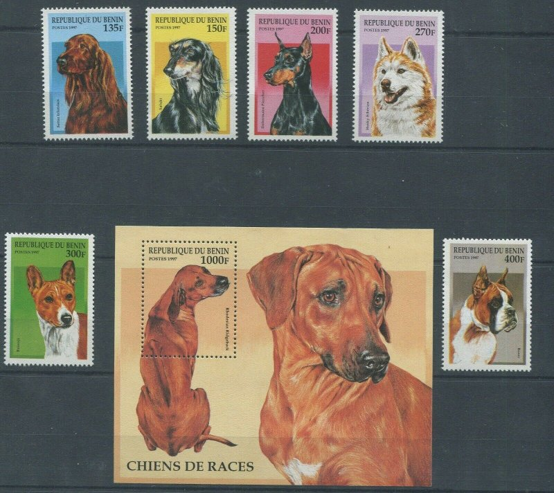 Benin MNH S/S & 6 Stamps Gorgeous Dogs 1997