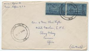 1958 Covina CA airmail to Cameroun 2x C36 overinked freak stamps  [1596]