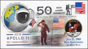 19-034, 2019, 50th Anniv. Moon Walk, Pictorial  Postmark, Event, Norcross GA