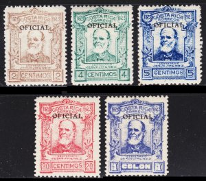 Costa Rica Scott O65-69 complete set F to VF mint OG H or HR.
