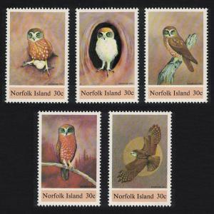 Norfolk Boobook Owl Birds 5v SG#338-342 SC#343
