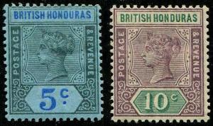 HERRICKSTAMP BRITISH HONDURAS Sc.# 52-53 Mint Hinged Scott Retail $33.00