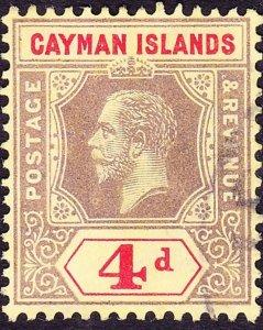 CAYMAN ISLANDS 1913 KGV 4d Black & Red/Yellow SG46 FU