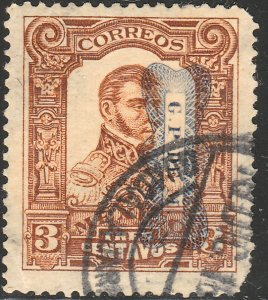 MEXICO 519Var 3¢ INVERTED CORBATA REVOLUTIONARY OVPT USED. VF. (24)