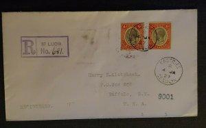 1927 Castries St Lucia Cover to Buffalo NY via New York City Registered Cover