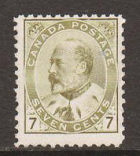 Canada Sc 92 MNH. 1903 7c KEVII, expertly regummed