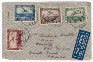Belgium 50c, 1fr, 2fr, 5fr airmail to New Guinea via Australia, 1938