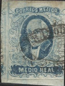 J) 1856 MEXICO, HIDALGO, MEDIO REAL BLUE, QUERETARO DISTRICT PLATE II, OVAL CANC