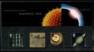 G.B.QE II 1999 THE SCIENTIST'S TALE MINT (NH) SG2102-05 P.O.PACK 301 SUPERB