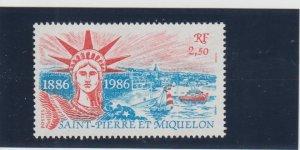 St. Pierre & Miquelon  Scott#  477  MNH  (1986 Statue of Liberty)