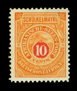 German EAST AFRICA 1892 SEAPOST - Schulke & Mayr's LOCALS  10c orange - mint MH