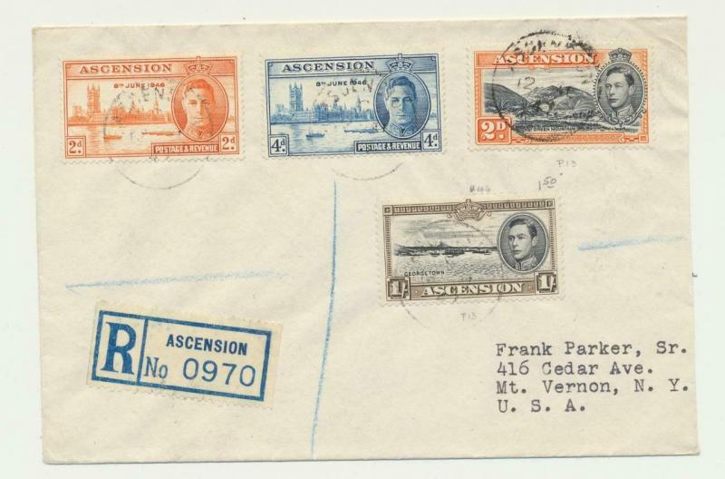 ASCENSION 1947 REG COVER TO USA, 1sh8d RATE INC VICTORY SET (SEE BELOW)