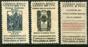 MEXICO C97-C99, 400th Anniv 1st Printing Press in America. UNUSED, H OG. VF.